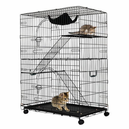 2-Tier Cat Playpen Cat Cage with 2 Climbing Ladders &  Hammock&2 Rest Benches