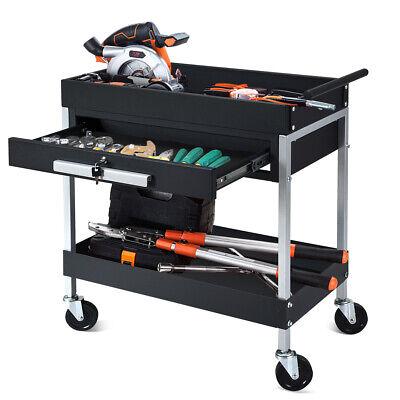 2 Shelf Tool Cart Utility Cart Service Cart Heavy Duty Wlock Drawer On Wheels