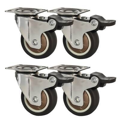 4 Pack 2 Low Profile Swivel Plate With Brake Brown Rubber Caster Wheels