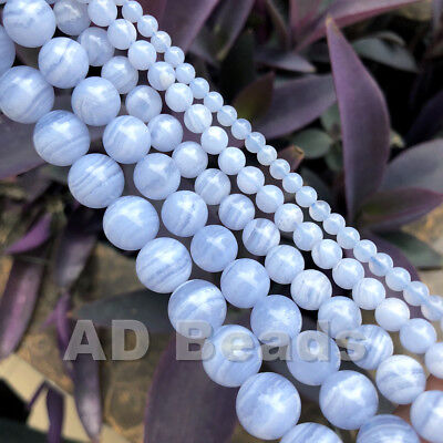 "AAA Natural Chalcedony Blue Lace Agate Round Beads 15.5"" 4mm 6mm 8mm 10mm"