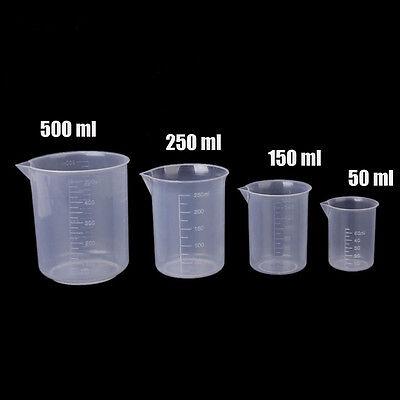 4* Plastic Graduated Beakers Measuring Cylinder Chemistry Lab 50/150/250/500ml