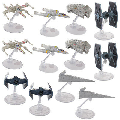 Set Of 12 Hot Wheels Disney 40th Anniversary Star Wars Starships Display Stands
