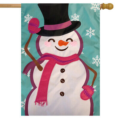 "Waving Snowman Winter Applique House Flag Top Hat Scarf 28"" x 40"" Briarwood Lane"