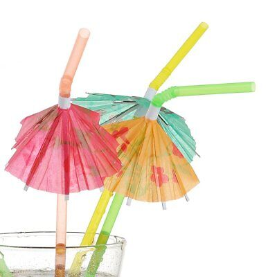 200pk Hawaiian Luau Parasol Umbrella Straws Cocktail Decorations Party Supplies