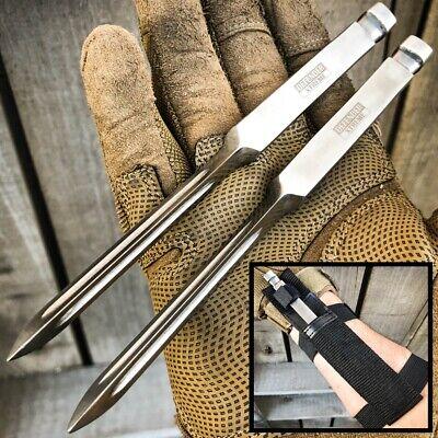 "2PC 7"" Ninja Tactical Throwing Spike Dart Quill Ice Pick Fixed Blade Kunai Knife"