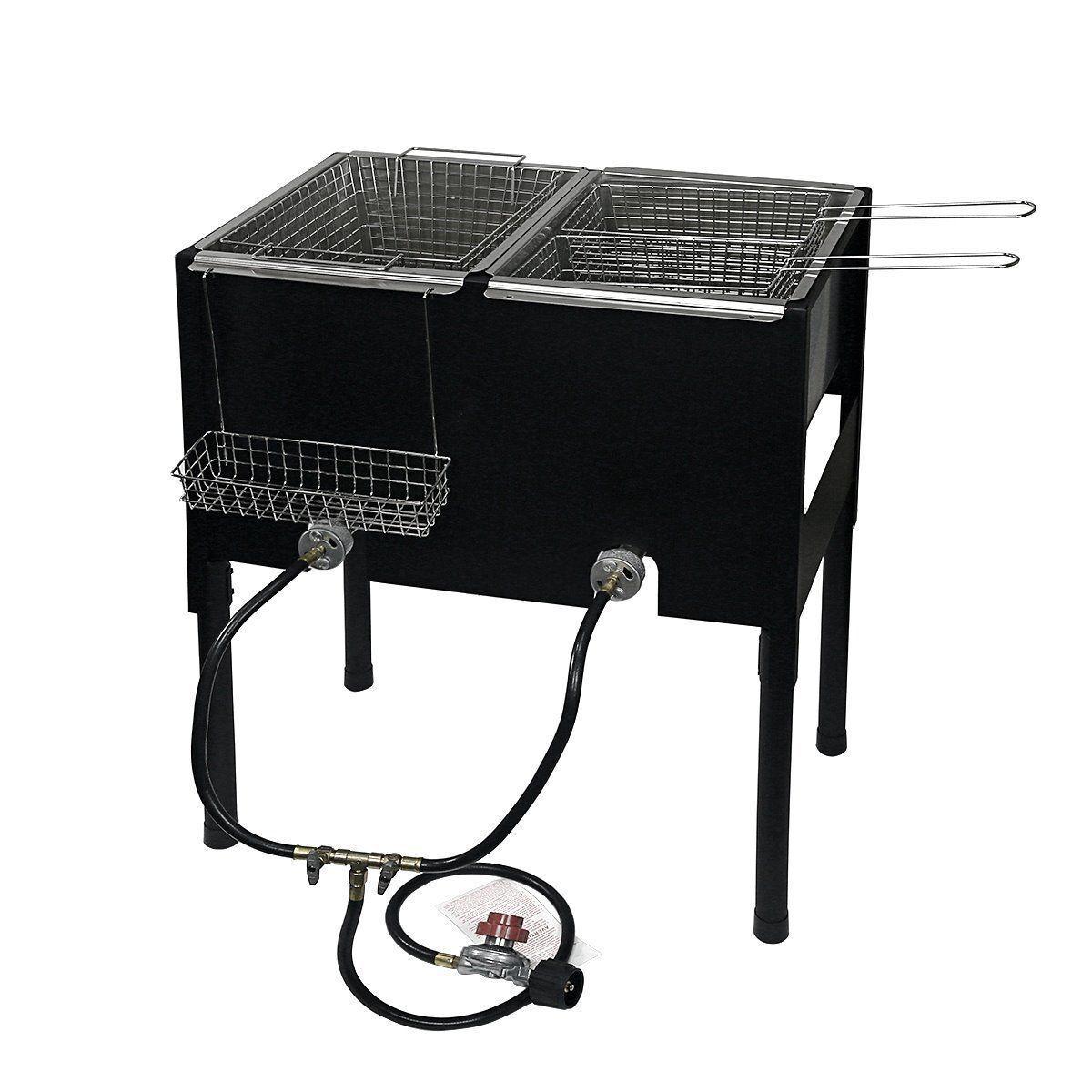 Propane LPG Camping Stove 2 Burner basket Gas Double Deep