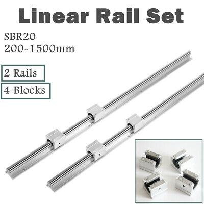 2pcs Sbr20 Linear Rail Slide Guide Rod 200-1500mm 4pcs Sbr20uu Bearing Blocks