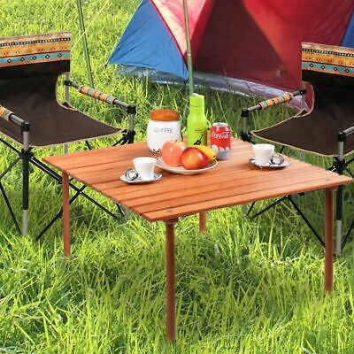 Wood Roll Up Table Folding Camping Table Outdoor Indoor Picnic with Carry Bag