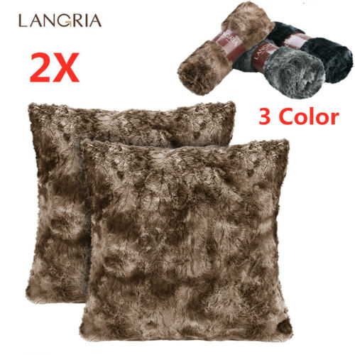 2pcs Soft Plush Throw Pillow Case Faux Fur Cushion Covers Be