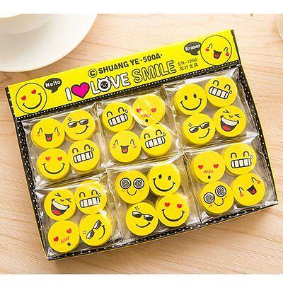4PCS Funny Emoji Rubber Pencil Eraser Novelty Student Gift Cute Toy Fr Child EH5 - Pencil Eraser