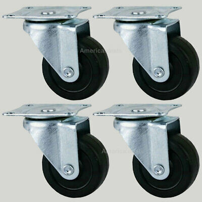 4 Pack 3 Swivel Caster Wheels Hard Rubber Base With Top Plate Bearing