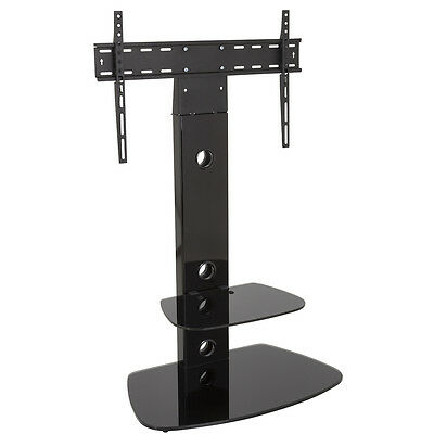 "Black Glass Cantilever LCD LED TV Stand Wall Mount Shelves - TVs Up To 55"" inch"