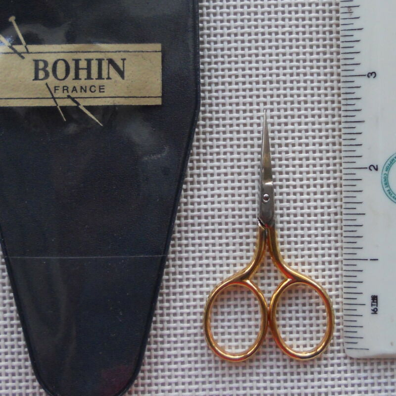 Bohin small Embroidery Scissors with gold handles made in France