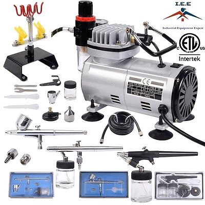 Complete Airbrush Kit Air Compressor 3 Airbrush Hobby Auto Paint