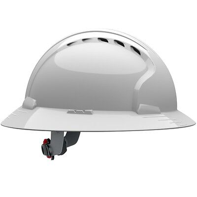 JSP Vented Full Brim Hard Hat with 6 Point Ratchet Suspension, White