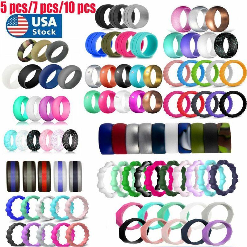 5/7/10 Pcs Set Flexible Silicone Ring Men Women Rubber Wedding Band Size 5-10#
