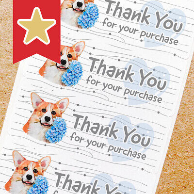 Thank You Labels Stickers For Online Shop Sellers 100ct - Corgi Dog Flower