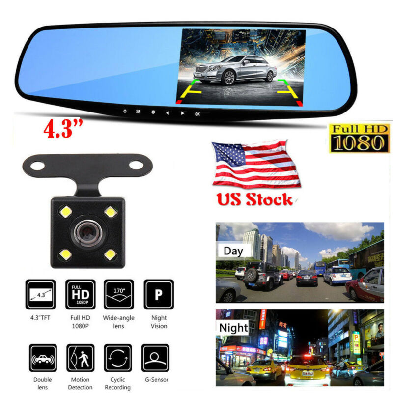 1080P Dual Lens 4.3'' Car Auto DVR Mirror Dash Cam Recorder+Rear View Camera Kit