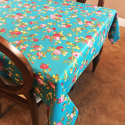 lovemyfabric Teal Vintage Floral Cotton - Teal Tablecloth