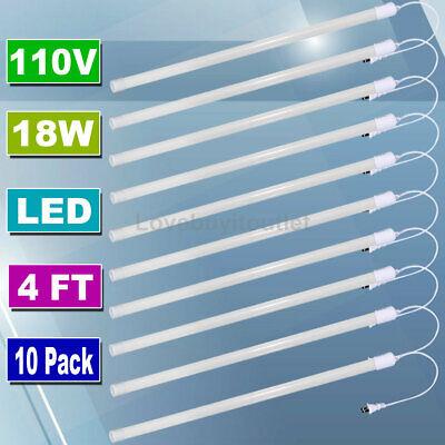 10 Pack Led Tube Light 4ft Shop Light For Ceiling Cabinet Garage Light 1900 Lums