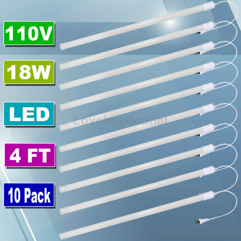 10 Pack LED Tube Light 4FT Shop Light For Ceiling Cabinet Garage Light 1900 lums