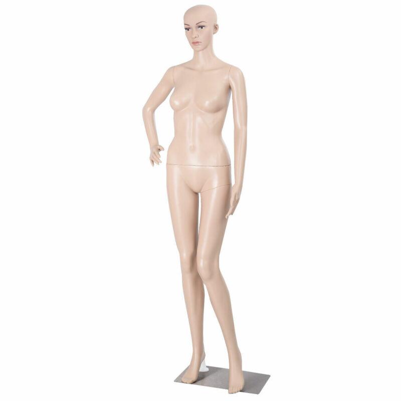 Full Body Female Mannequin Plastic Realistic Display Head Turns Dress w/ Base