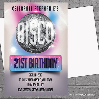 Personalised Disco Ball Birthday Party Invitations x 12 +envs H1252