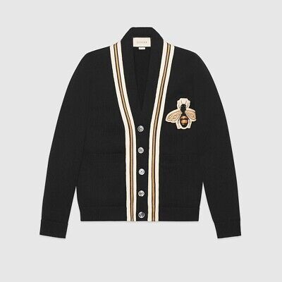 Gucci Wool Cardigan With Bee Appliqué. Black. Size S