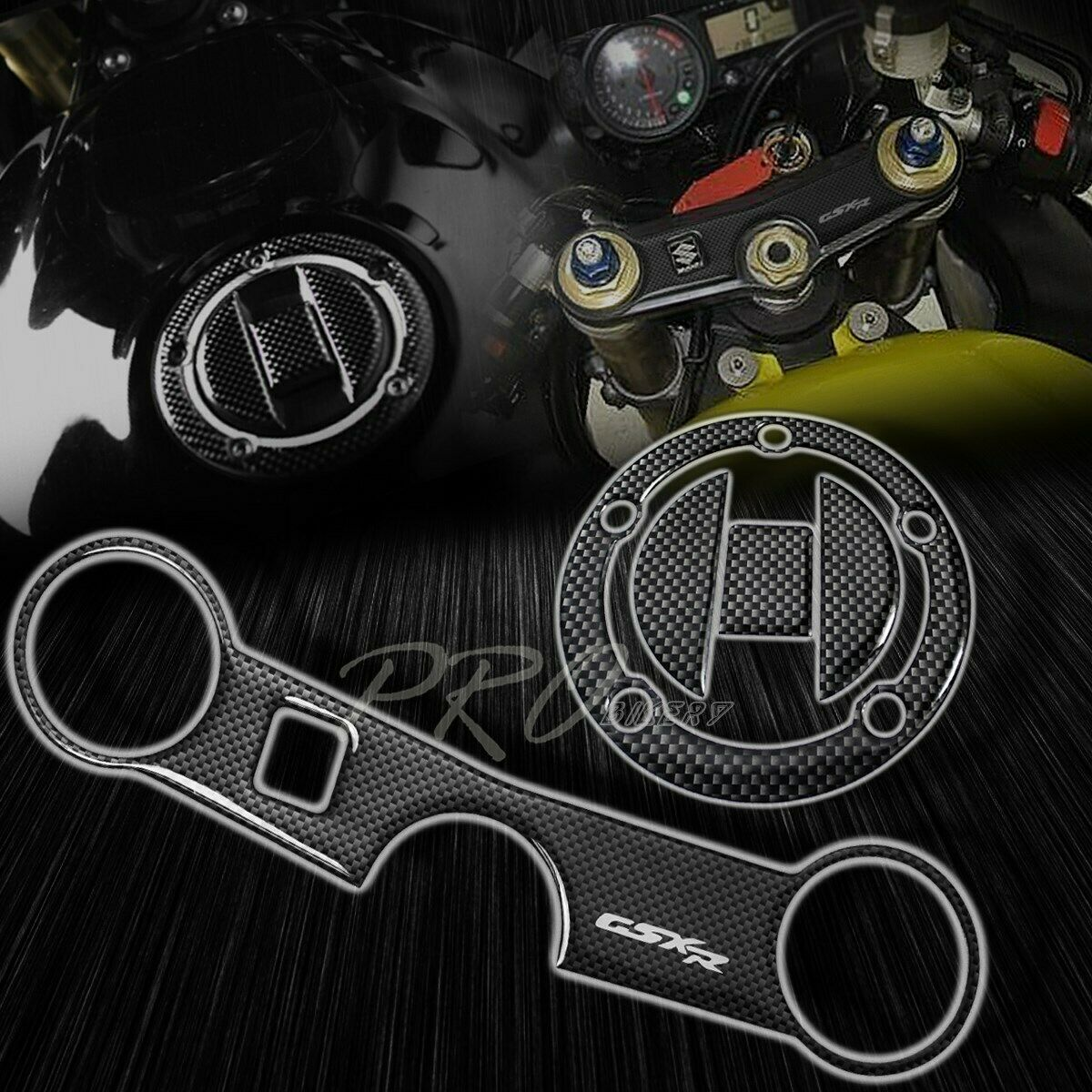 Handle Yoke Cover Protector Perforated Black Logo Sticker Pad 06-17 GSXR 600//750