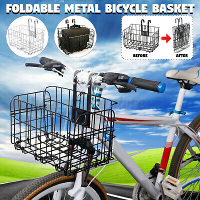 Fold-Up Bicycle Basket Wire Mesh Bike Front Handlebar Storage Rear Hanging MBT