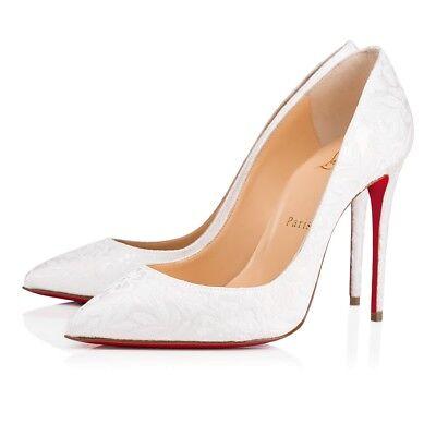 NIB Christian Louboutin Pigalle Follies 100 White Latte Wedding Heel Pump 41
