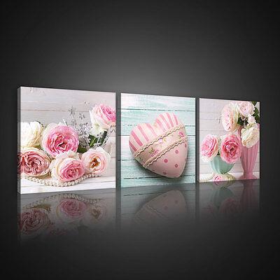 SET (3 teilig) Leinwandbild Wandbild Bild BLUMEN HERZ KUNST ROSE HOLZ 10543 S13