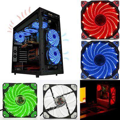 Led Case Fan (120mm LED Ultra Silent Computer PC Case Fan 15 LEDs 12V Easy Installed MNY to)