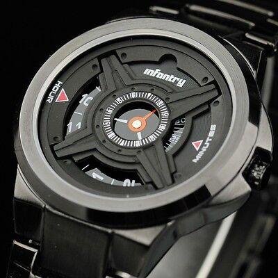INFANTRY Mens Analog Quartz Wrist Watch Army Sport Black Stainless Steel Luxury