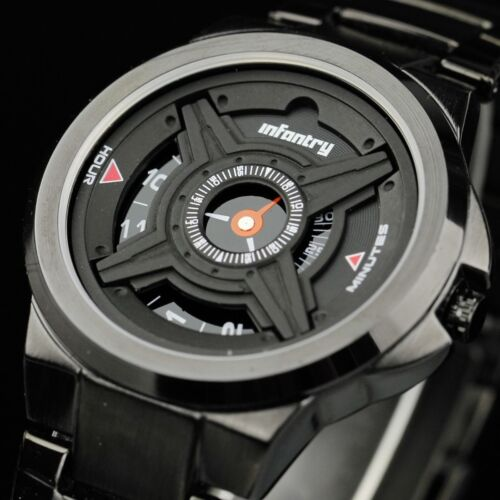 $21.60 - INFANTRY Mens Analog Quartz Wrist Watch Army Sport Black Stainless Steel Luxury