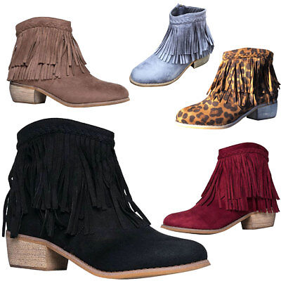 NEW Braided 2 Layer Fringe Collar Cuff Cowgirl Booties Ankle Boot Block Low Heel
