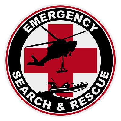 "Emergency Search & Rescue Large 4"" Round Reflective Decal Sticker"