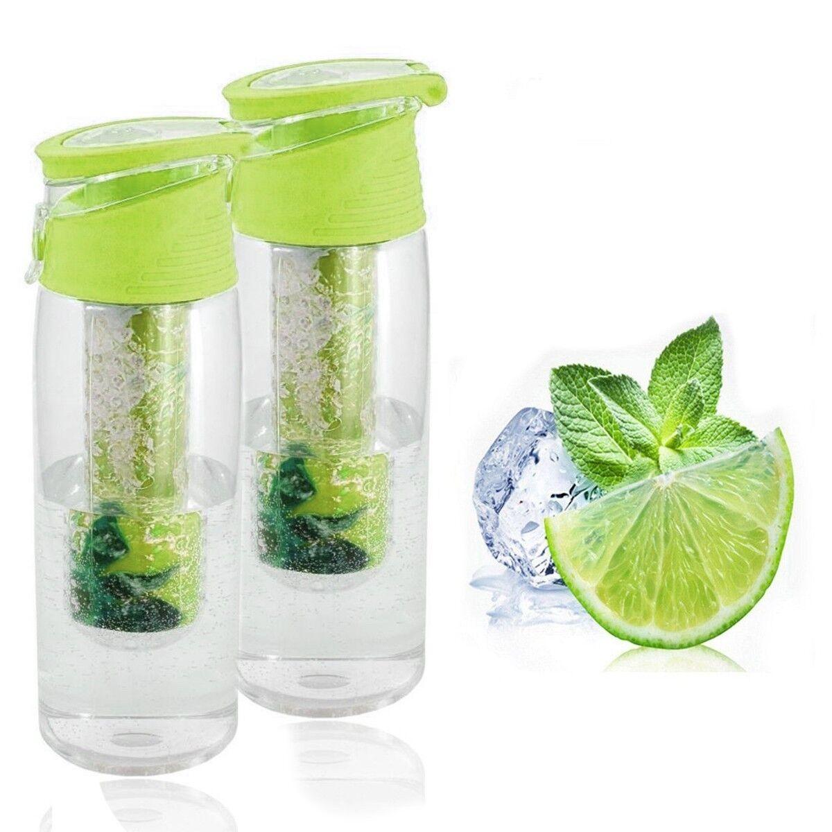 Trinkflasche 2er Set mit Fruchteinsatz grün Wasserflasche Sportflasche Behälter