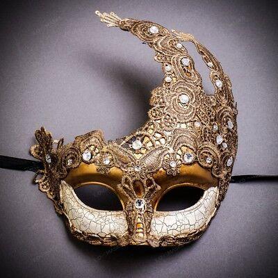 Women Mask Masquerade Party Ball Prom Half Face Luxury Venetian Mask - Gold](Half Venetian Mask)