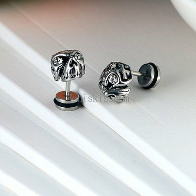 One Pair Punk Silver Stainless Steel Gothic Skull Stud Earrings for Men Boys](Gothic Boys)