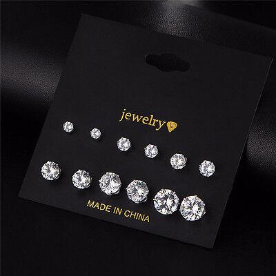 Earrings - 6 Pair Fashion Women Jewelry Silver CZ Crystal Rhinestone Ear Stud Earrings new
