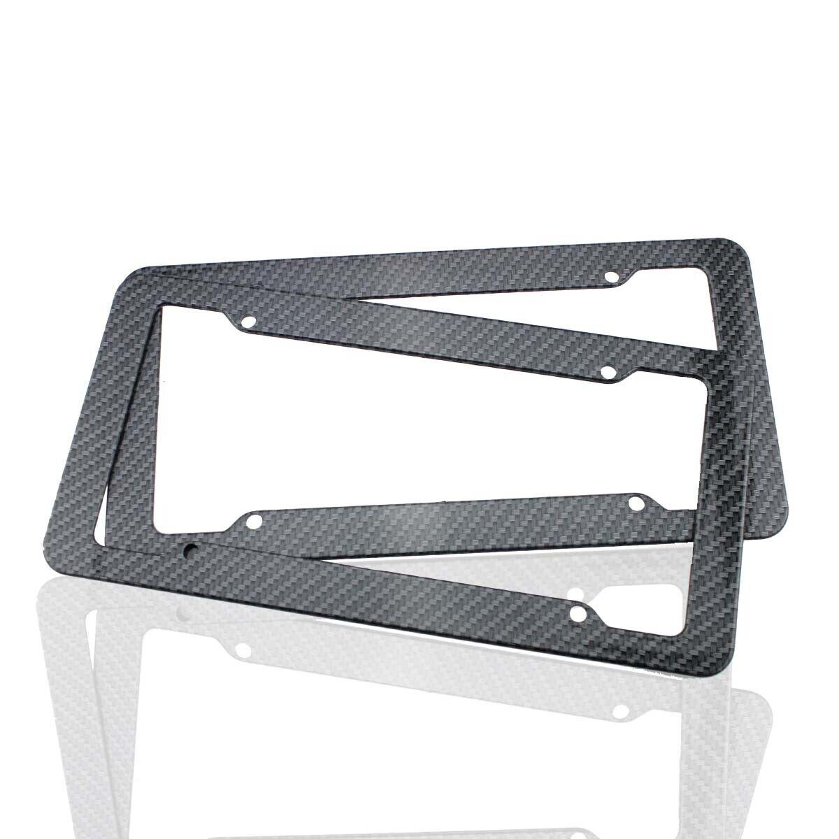 2x Black Carbon Fiber License Plate Tag Frame For Front /& Rear Bracket w// Screws