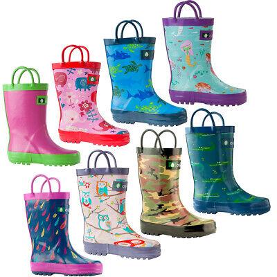 Oakiwear Waterproof Kids Rubber Rain Boots Boy & Girl Toddle