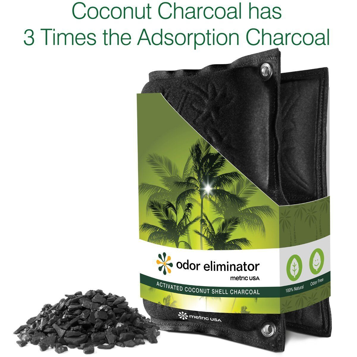 Odor Eliminator Coconut Shell Pouch Charcoal Natural 3 x Better Absorption 18mos