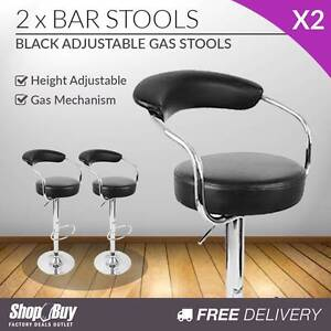 Free Delivery: 2 x PU Leather Gas Lift Barstool Kitchen Chair Bl Box Hill Whitehorse Area Preview
