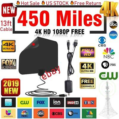 Reception Omni-directional Amplified Indoor/Outdoor HDTV Antenna Up 450Mile 4K