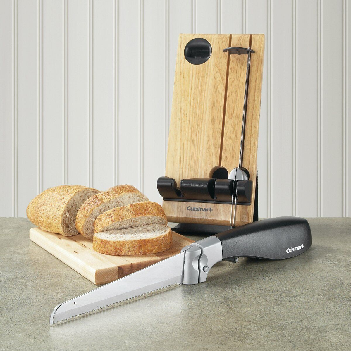 Cuisinart Electric Knife - wood butcher-block storage - MEAT