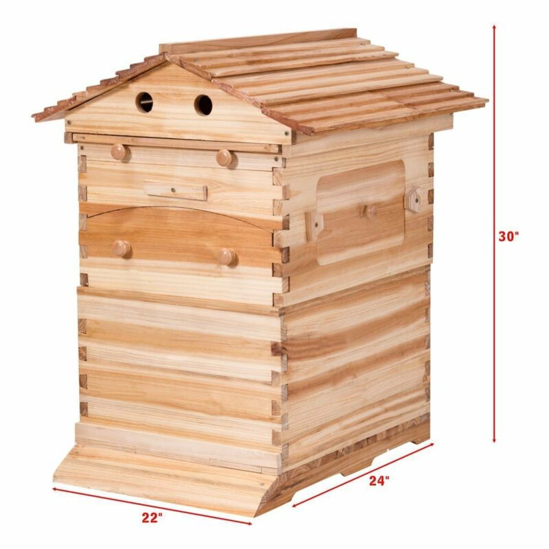 New 7PCS Auto Honey Beehive Hive  Flow Frames  &  Beekeeping Cedarwood Brood Box