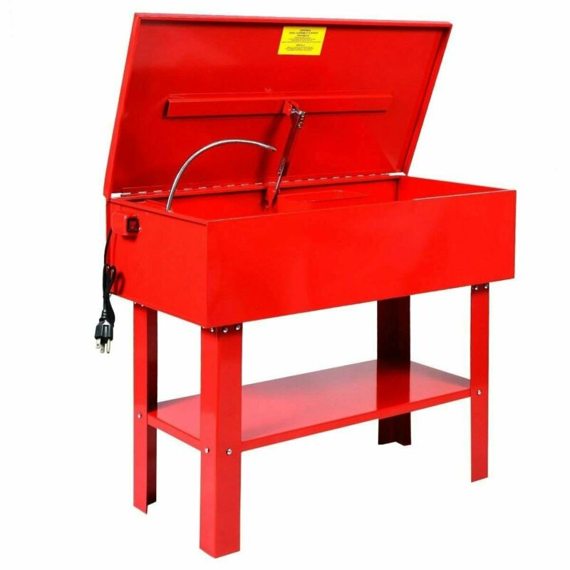40 Gallon Parts Washer Electric Commercial Solvent Pump with Shelf Tank Red