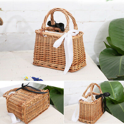 Women Knitted Woven Rattan Straw Bohemia Square Beach Basket Bucket Bag  Straw Basket Bag